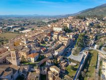 View of Spello, Umbria, Italy. Drone aerial photo stock photography