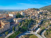 View of Spello, Umbria, Italy. Drone aerial photo stock images