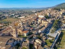 View of Spello, Umbria, Italy. Drone aerial photo royalty free stock photography