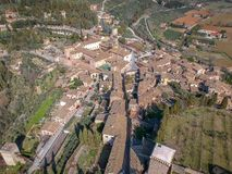 View of Spello, Umbria, Italy. Drone aerial photo stock image