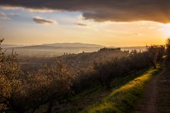 A view of Spello in Umbria at sunset. Landscape format royalty free stock photography