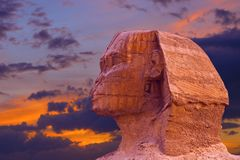 View of the Sphinx Egypt, The Giza Plateau in the Sahara royalty free stock photo