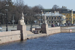 View of the Sphinx pier in April. St. Petersburg Royalty Free Stock Image