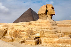 View of the Sphinx and Pyramid of Khafre Royalty Free Stock Image