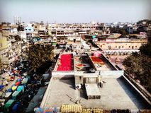 View from Spice Market. Drying spicies on the rooftop in Old Delhi stock image