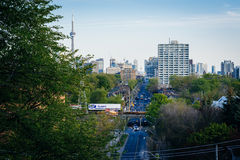 View of Spidina Avenue and downtown from the Baldwin Steps at Sp. Adina Park, in Midtown Toronto, Ontario royalty free stock photos