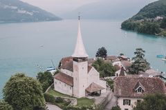 View on Spiez city and lake Thun, Switzerland, Europe royalty free stock images