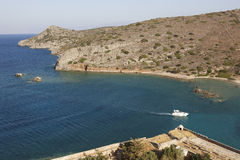 View from Spinalonga fortress in Crete near Elounda. Greece Royalty Free Stock Photos