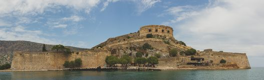 View on Spinalonga Fortress Panorama. View on Spinalonga Fortress in a panorama shot stock photography