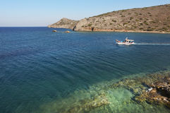 View from Spinalonga island in Crete near Elounda. Greece Royalty Free Stock Photos