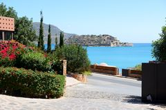The view on Spinalonga Island from hotel Royalty Free Stock Photo