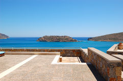 View on Spinalonga Island from luxury hotel Royalty Free Stock Image