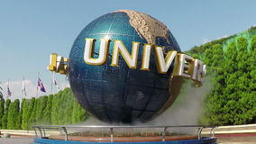 View of the spinning Universal Globe outside the Universal Studios theme park stock footage