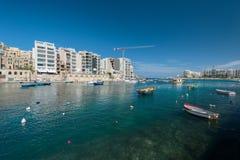 View on Spinola bay St Julians Malta copy paste. Spinola bay, St Julian's, Malta Stock Photo