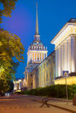 View of the spire of the main building of the Admiralty, night. Historic centre of Saint Petersburg Royalty Free Stock Photos