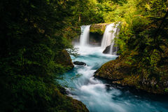 View of Spirit Falls on the Little White Salmon River in the Col Stock Photo