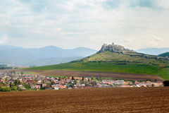 The view of The Spis Castle in Slovakia. The view of The Spis Castle - Spissky hrad National Cultural Monument (UNESCO) at Spisske Podhradie stock photo