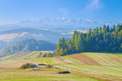 View from Spisz to The Tatra Mountain Range. Royalty Free Stock Photo