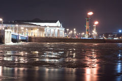 View of the spit of Vasilevsky Island at night Stock Image