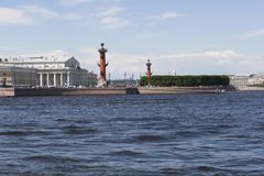 View of the Spit of Vasilievsky Island from Dvortsovaya Embankment in St. Petersburg Royalty Free Stock Image