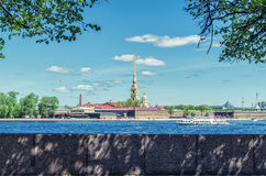 A view from the Spit of the Vasilievsky island on the St. Peter and Paul fortress. Royalty Free Stock Images