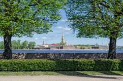 A view from the Spit of the Vasilievsky island on the St. Peter and Paul fortress. Royalty Free Stock Photo