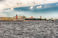 View of the Spit of Vasilievsky Island, St. Petersburg, Russia Stock Image