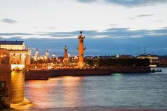 View of the Spit of Vasilyevsky Island white night. St. Petersburg, Russia Stock Photography