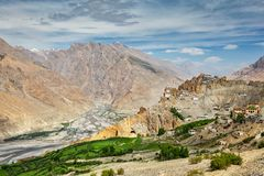 View of Spiti valley and Dhankar Gompa in Himalayas Stock Image