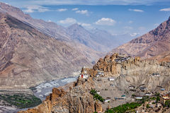 View of Spiti valley and Dhankar Gompa in Himalayas Stock Images