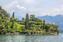 A view of the splendid gardens of Villa del Balbiano at Lake Como, Lenno. stock photos