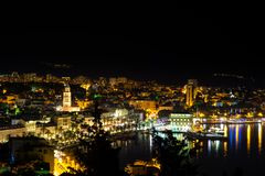 View of the Split. View f the Split seaside and marina. Photo taken from viewpoint on Marijan hill over Split Royalty Free Stock Photography
