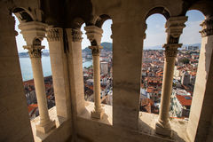 View of Split's old town from the bell tower. View of Split's old town and beyond from inside the bell tower of Cathedral of Saint Domnius in Croatia Royalty Free Stock Photography