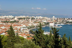 View of Split's old town and beyond from above Royalty Free Stock Image