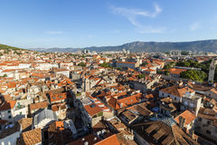 View of Split's old town and beyond from above Stock Images