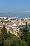 View of Split's old town and beyond from above Stock Photo