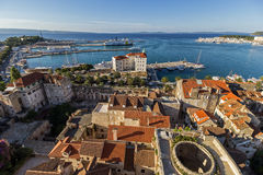 View of Split's old town and harbor from above Royalty Free Stock Photography