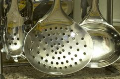 View of spoons to serve soup. In my house stock photos