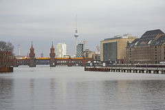 View on the Spree with Oberbaum bridge and fernsehturm stock photography