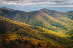 View of spring color in the Blue Ridge Mountains from Blackrock Stock Photo
