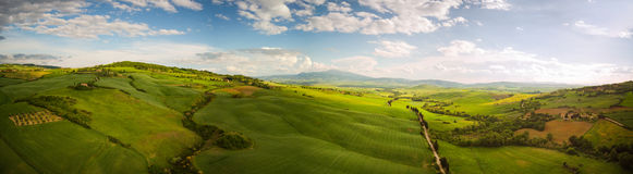 View of a spring day in the Italian rural landscape. Panoramic view of a spring day in the Italian rural landscape Royalty Free Stock Photo