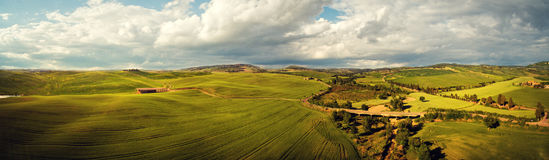View of a spring day in the Italian rural landscape. Panoramic view of a spring day in the Italian rural landscape Royalty Free Stock Images