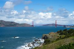 Golden Gate Bridge in Lands End, San Francisco. The view in spring in Lands End, San Francisco, CA, U.S royalty free stock photography
