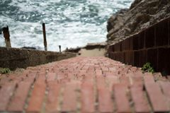 A stair in Lands End, San Francisco. The view in spring in Lands End, San Francisco, CA, U.S royalty free stock photos