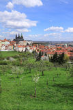 View on the spring Prague gothic Castle with green Nature and flowering Trees, Czech Republic Stock Photo