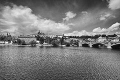 View on the spring Prague gothic Castle and Old Town Royalty Free Stock Image