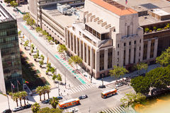 View of Spring Street and buildings in Los Angeles. City during summer sunny day, USA Royalty Free Stock Photo