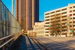 View of Spring Street NW in Downtown Atlanta, USA. View of office and parking buildings from the bridge on the Spring Street NW in sunny day, Atlanta, USA Stock Photography