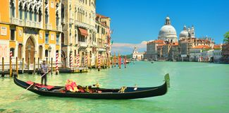 View of spring Venice in sunny weather,Italy. Cityscape with Grand Canal and basilica Santa Maria della Salute royalty free stock images