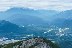 View of Squamish City from mountain in British Columbia, Canada. Stock Images